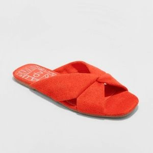 Shoes - Addie Microsuede Knotted Slide Sandals